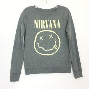 NIRVANA Smiley Crewneck Pullover Sweater Sz Small